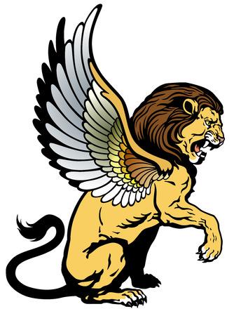 winged lion: león con alas, criatura mitológica, la imagen aislada en el fondo blanco