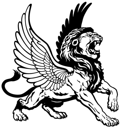 raging: roaring winged lion, black and white tattoo image