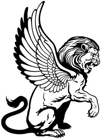 leon con alas: sentado león alado, criatura mitológica, la imagen del tatuaje blanco y negro