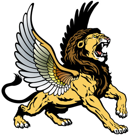 angry winged lion, mythological creature  Vector