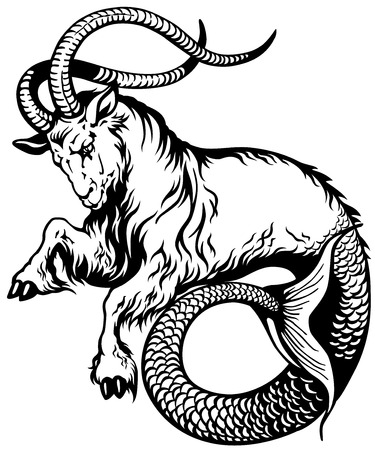 ancient creature: capricorn astrological zodiac sign, black and white tattoo image Illustration