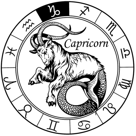 capricorn astrological zodiac sign, black and white tattoo image Vettoriali