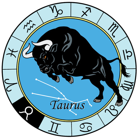 おうし座または牛占星術星座、白で隔離されるイメージ