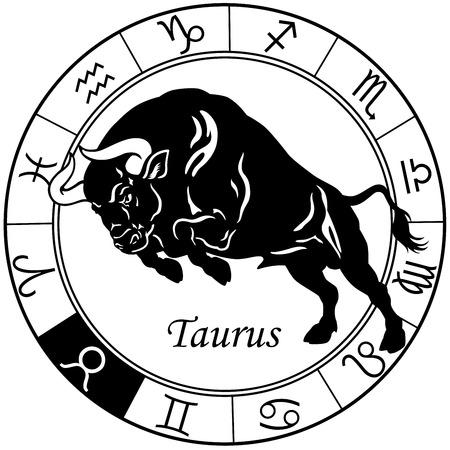 おうし座または牛占星術の十二宮サイン、黒と白のイメージ  イラスト・ベクター素材