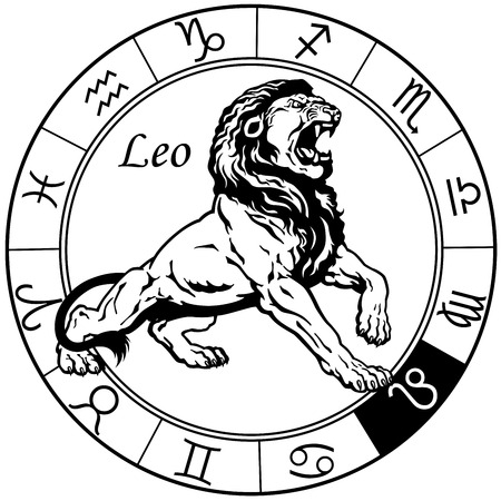 leo or lion astrological zodiac sign, black and white image Ilustração