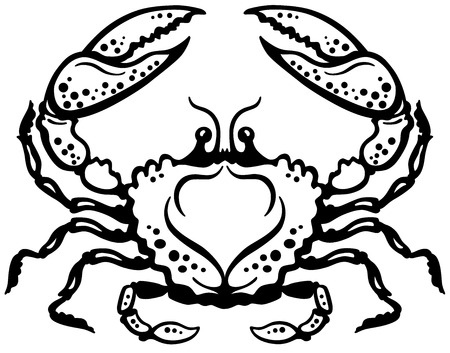 crab or cancer astrological zodiac sign, black and white image Vector