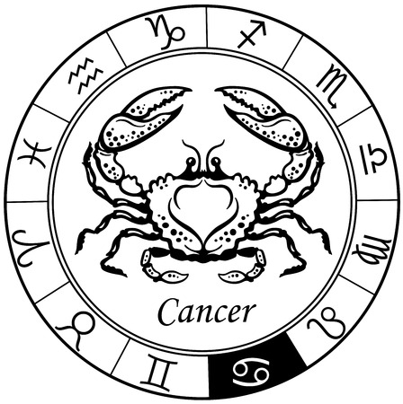 black and white image: cancer astrological zodiac sign, black and white image