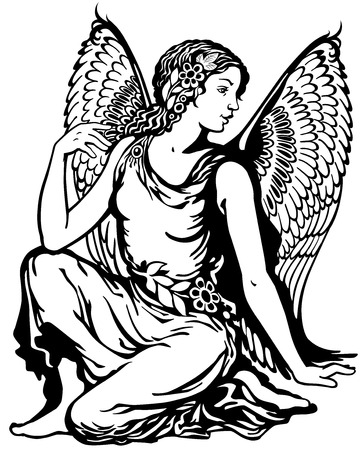 fairy: young woman with angel wings, virgo astrological zodiac sign, black and white tattoo image