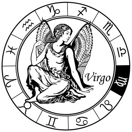 처녀 자리 점성술 조디악 표지판, 흑백 이미지 일러스트