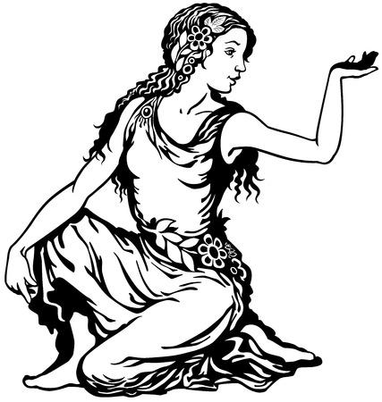 jonge vrouw, maagd astrologische dierenriem teken, zwart-wit beeld Vector Illustratie