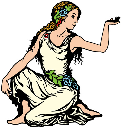 jonge vrouw, maagd astrologische sterrenbeeld, afbeelding geïsoleerd op wit