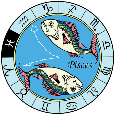 pisces astrological zodiac sign, image isolated on white