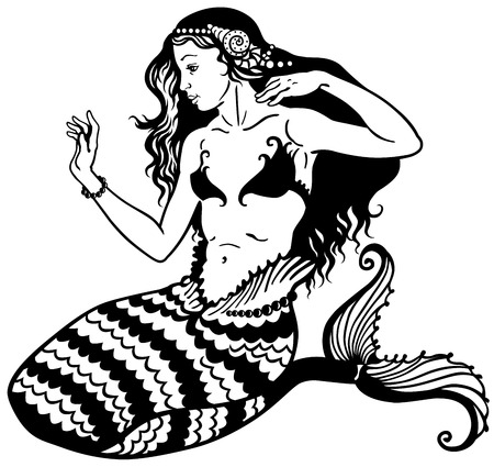 long tail: mermaid mythological young girl with fish tail, black and white image