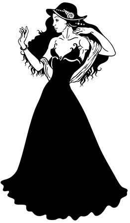 elegant young woman in long dress, black and white image  Illustration