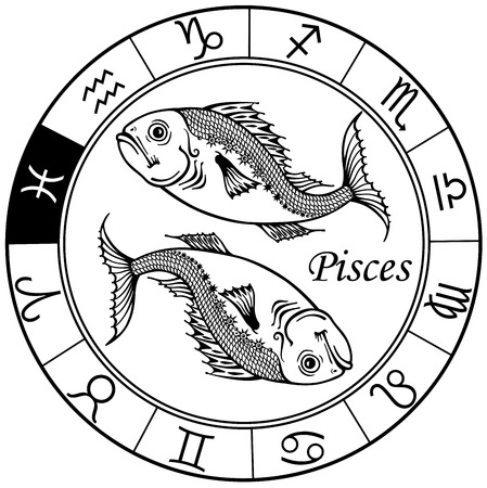 pisces astrological zodiac sign,black and white image Vettoriali