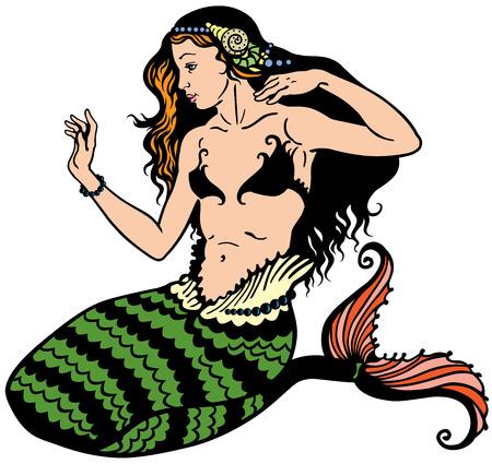 Meerjungfrau auf weißem