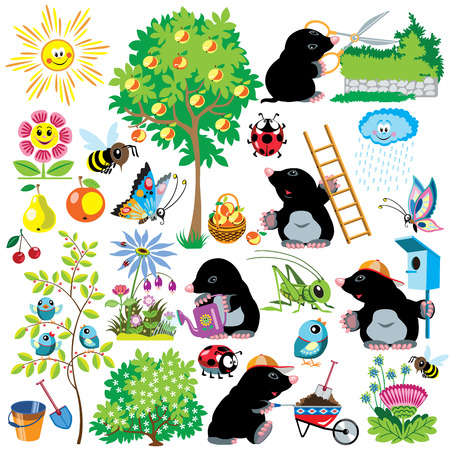 cartoon set with mole working in a garden, gardening collection for little kids, images isolated on white
