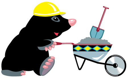 mole: cartoon mole builder with wheelbarrow, isolated image for little kids