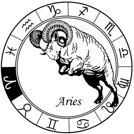 aries or sheep astrological zodiac sign, black and white image