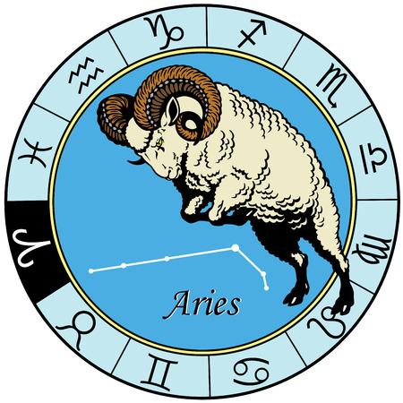 羊または牡羊座占星術星座、白で隔離されるイメージ