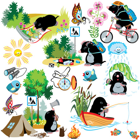 mole: cartoon set with mole in camping, difference situation,isolated images for little kids