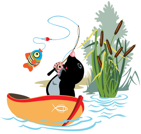 bulrush: cartoon mole fishing in a boat,isolated image for little kids Illustration