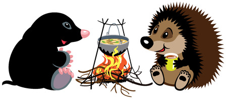 animal mole: cartoon mole and hedgehog preparing food on campfire in wild camping, isolated image for little kids