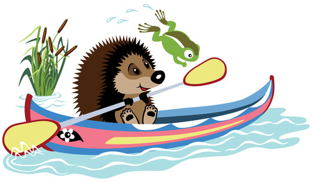 padding: cartoon hedgehog padding in a kayak, isolated image for little kids