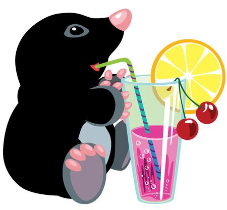 frutoso: toupeira dos desenhos animados beber cocktail de frutas, isolado por crian