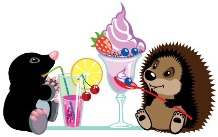 cartoon mole and hedgehog eating sweet desserts, isolated image for little kids