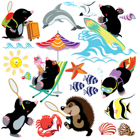 shell fish: set with mole on a tropical beach, different activities, isolated cartoon images for little kids