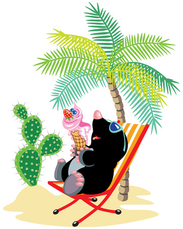 eating ice cream: cartoon mole relaxing on chair in tropical beach and eating ice cream Illustration