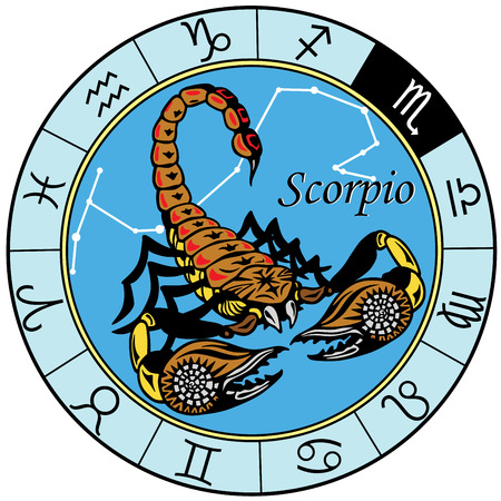 schorpioen of schorpioen astrologische sterrenbeeld Stock Illustratie