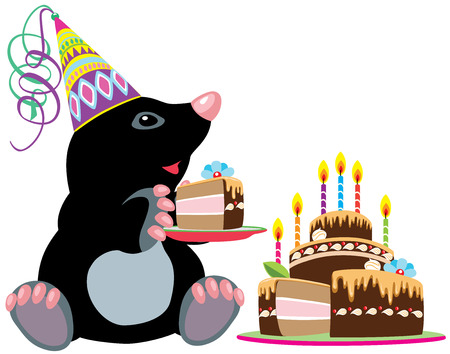 mole: cartoon mole holding a piece of birthday cake, isolated image for little kids  Illustration