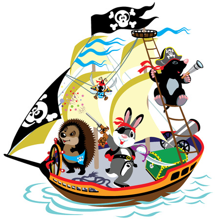 hedgehog: cartoon pirate ship with mole captain and his team,children illustration,isolated picture for little kids Illustration