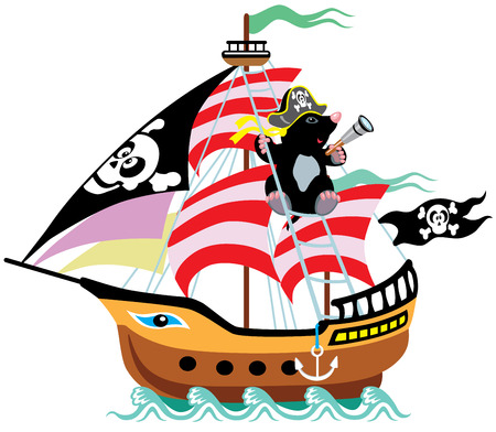 ships at sea: cartoon pirate ship with mole captain, isolated picture for little kids  Illustration