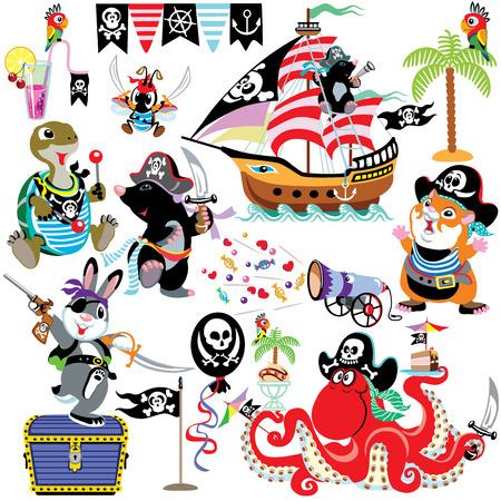 engastado con animales de dibujos animados piratas, imágenes aisladas para niños pequeños