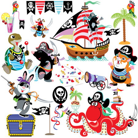 pirate boat: set with cartoon animals pirates, isolated images for little kids