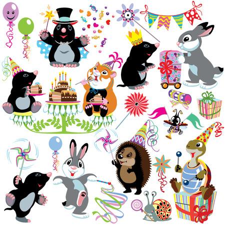 ほくろ、小さな子供のための分離された画像の誕生日パーティー セット漫画