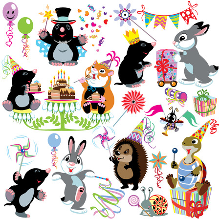 cartoon set with birthday party of mole, isolated images for little kids Illustration