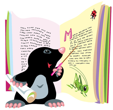 book isolated: cartoon mole reading book, isolated image for little kids