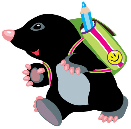 cartoon mole walking to school, isolated image for little kids Vector