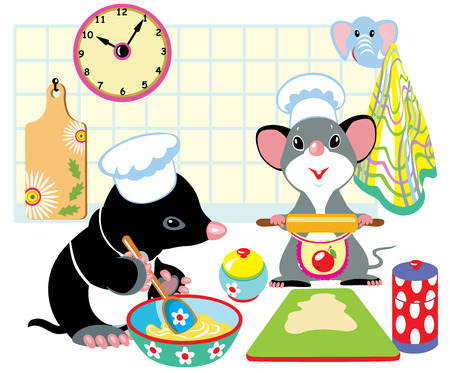 little dough: cartoon mole and mouse with chef hats preparing the dough, children illustration