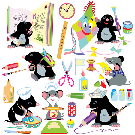cartoon set with creative activities for young children,little mole and mouse creating using a lot of school tools Illustration