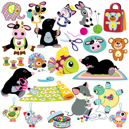 small tools: set with cartoon mole and mouse sewing toys, handmade crafts for babies and little kids