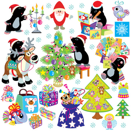 set with cartoon mole prepare the house for christmas and new year, isolated images for little kids Vector