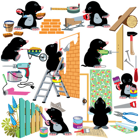 mole: set with cartoon mole working home renovation, isolated pictures for little kids