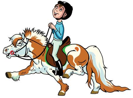 shetlander: afbeelding voor kleine kinderen zijaanzicht cartoon jongen rijden pony paard, paardensport,