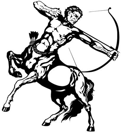sagitario: Sagitario el arquero centauro, muestra astrológica del zodiaco, negro y blanco, imagen aislada