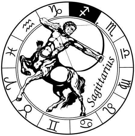sagittarius the centaur archer, astrological zodiac sign, black and white isolated image Illustration